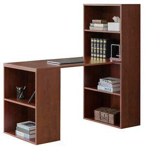 New Computer Writing Workstation Table with Combo Bookshelf Bookcase