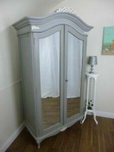 Charroux Double Armoire Wardrobe In Mercury Grey - French Shabby Chic Wardrobe