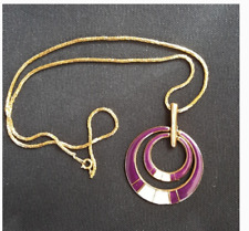 Vintage Purple White Retro Mid Century Purple Costume Necklace Jewelry