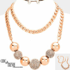 CLEARANCE HIGH END ROSE GOLD CRYSTAL BALL STATEMENT CHUNKY NECKLACE JEWELRY SET