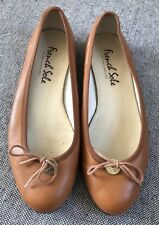 French Sole Leather Tan Camel Flat Shoes Size 41