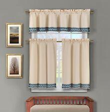 3 Pc Linen Kitchen Window Curtain Set: Crochet Blue and Linen Accent Free Hanger