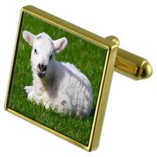 Lamb Gold-Tone Cufflinks Crystal Tie Clip Gift Set