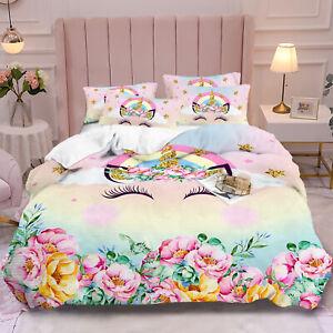 Hot Unicorn Kids Bedding Set Duvet Cover Quilt Cover Pillow Case Twin Queen King