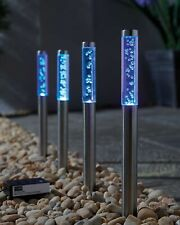 4 PK  Colour Changing Solar Powered LED Bubble Stake Lights Pathway Drive Garden