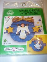 NEW ANGEL & DOVE PAINTED WOOD RIBBON KIT CHRISTMAS HOLIDAY PATTERN TREE ORNAMENT