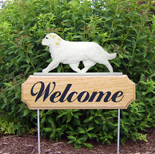 Clumber Spaniel Dog Breed Oak Wood Welcome Outdoor Yard Sign Lemon