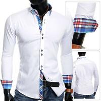 Men's Button Down Collar Shirt Smart Cotton White Cyan Blue Check Cuffs Slim Fit