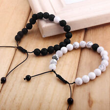 2pc Distance Friends/Lover Braided Bracelet Natural White/Black Stone Adjustable