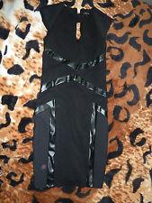 RIVER ISLAND DRESS BLACK BODYCON LEATHER DETAIL SIZE 8