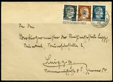 WWII II ERA GERMANY CHANCELLOR FRANKED 1,2,& 4 pfg STAMPS  COVER LEIPZIG APR '42