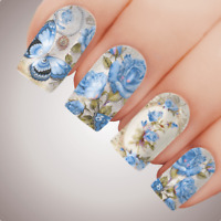 VICTORIAN BLUE Floral Butterfly Full Cover Nail Decal Art Water Slider Transfer