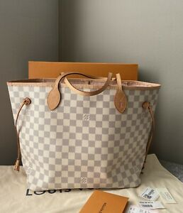 Louis Vuitton Neverfull MM Rose Ballerina Damier Azur Shoulder Handbag