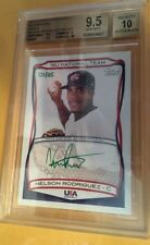 BGS 9.5 NELSON RODRIGUEZ 2010 Topps USA RC Green 10 AUTO #3/25 Cleveland Indians