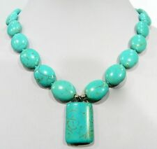TURQUOISE GEMS EGG-SHAPED & RECTANGULAR NECKLACE 18""