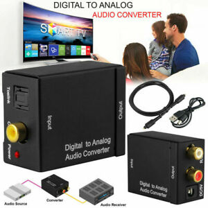 New Digital Optical Coax to Analog RCA Audio Converter Adapter with Fiber Cable