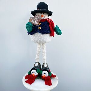 Long-legged 20 inch Snowman, Squashy Fabric Body on Solid Frame with Sign