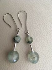Art Deco Inspired Natural Faceted Green Prehnite Sterling Silver Earrings