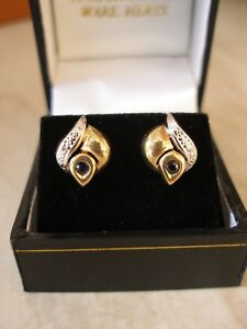 PAIR OF 9 CARAT GOLD SAPPHIRE & DIAMOND FANCY STUD EARRINGS MADE IN UK BRAND NEW