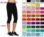 COTTON SPANDEX CAPRI YOGA PANTS LEGGINGS SLIM FIT S M L XL 2XL 3XL