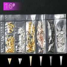 Mixed styles rose gold silver arrowhead triangle 3d metal nail art decorations