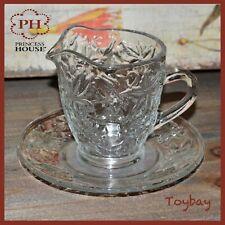 Vintage PRINCESS HOUSE Crystal FANTASIA Creamer w/ Matching Under Plate Saucer