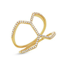 0.29 CT 14K Yellow Gold Womens Statement Dainty Natural Real Diamond Open Ring