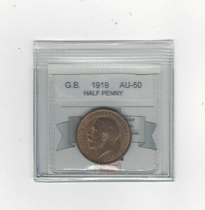 1919 Great Britain, Half Penny, Coin Mart Graded **AU-50**