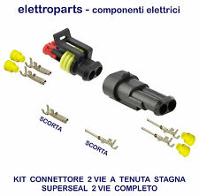 CONNETTORE STAGNO 2 VIE SUPERSEAL TIPO AMP SUPER SEAL METRI PACK KIT COMPLETO