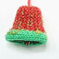 "Christmas Bell Ornament Vintage Aqua Pink Gold Glitter Crochet Knit Hand Made 3"""