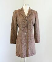 Ann Taylor Loft Tan Red Green Paisley Print Tapestry Jacket Car Coat Wool Size 4