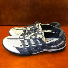Clark's Leather And Textile Navy Blue Walking Slip On Shoes WOMENS Size 10