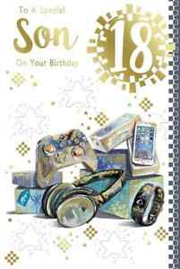 """For a Special Son 18th Birthday Card. Large Card 9"""" x 6"""""""