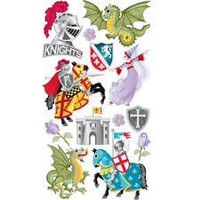 Scrapbooking Stickers Sticko Medieval Times Knights Dragons Castle Horses Roses