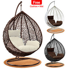 More details for rattan hanging egg chair garden swing chairs outdoor with cushion indoor patio