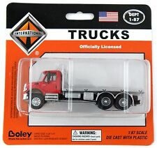 1:87 International 7600 Series Flatbed Truck - Red & Silver - Boley #4500-16
