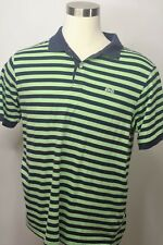 Le Tigre Polo Rugby Shirt Mens Extra Large Green Blue Stripe Cotton Short Sleeve