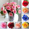 Roses Artificial Fake Silk Flowers Colorful  Bridal Wedding Bouquet Home Decor