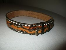 vtg deeply Tooled Leather Western cowboy belt size 29/30 company embossed