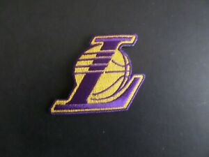 LOS ANGELES LAKERS*NBA YELLOW & PURPLE EMBROIDERED IRON ON PATCHES 2-3/8 X 2-1/2