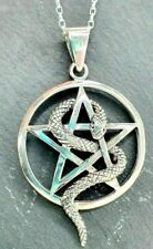 Sterling Silver 925 Pentagram Snake Star Circle Gothic Pendant Necklace Chain.