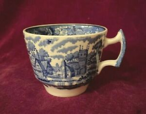 VINTAGE ENOCH WOOD WOODSWARE ENGLISH SCENES BLUE AND WHITE TEACUP