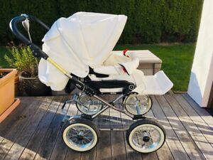 Emmaljunga Edge Duo Kombi Kinderwagen mit Zubehör Farbe weiß Vollleder Auktion