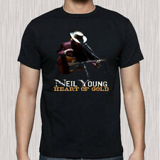 New Neil Young Heart of Gold Men's Black T-Shirt Size S to 3XL