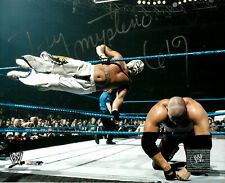 WWE REY MYSTERIO HAND SIGNED AUTOGRAPHED 8X10 PHOTOFILE PHOTO WITH COA RM7