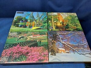 Vintage Lot of 4 Guild 1000 Piece Jigsaw Puzzles Interlocking Pieces