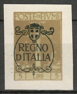 POSTE DI FIUME Italy 1924 - 5 Lire Regno D' Italia IMPERF. MI. 193 NG as issued