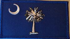 SOUTH CAROLINA FLAG PATCH - EMBROIDERED - PALMETTO BLUE AND WHITE DIXIE