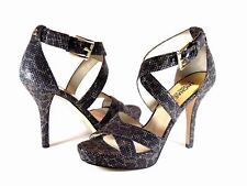 Michael Kors Evie Platform Cheetah Brown Glitter & Leather Heel Sandal Size 9