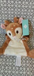 Peluche doudou marionnette biche faon Bambi beige marron blanc rose Tex neuf